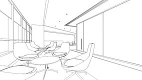 Outline sketch of a interior reception area Stock Images