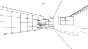 Outline sketch of a interior reception area Royalty Free Stock Image