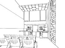 Outline sketch of a interior Stock Images