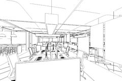 Outline sketch of a interior work area Royalty Free Stock Photography