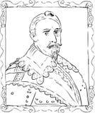 Outline Sketch of King Gustav II Adolf of Sweden Stock Images