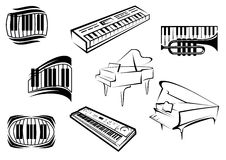 Outline sketch piano music icons Royalty Free Stock Image