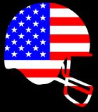 Football Helmet Silhouette On The Stars And Stripes Royalty Free Stock Photos