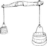 Outline sketch of 18th Century Yoke with Buckets Royalty Free Stock Photos