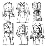 Outline Sketchy clothing.Females coat set Royalty Free Stock Images