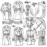 Outline Sketchy clothing.Females outerwear, Stock Image