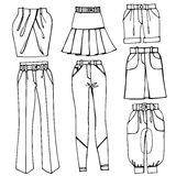 Outline Sketchy clothing.Females skirts,trousers Stock Photography