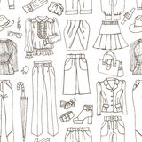 Outline Sketchy.Females clothing ,accessories Royalty Free Stock Photos