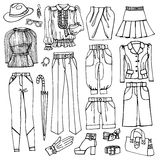 Outline Sketchy.Females clothing and accessories Stock Image
