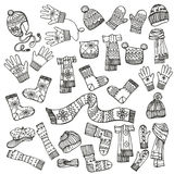 Outline Sketchy.Females knitted clothing Royalty Free Stock Image
