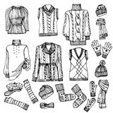 Outline Sketchy.Females knitted clothing set Royalty Free Stock Image