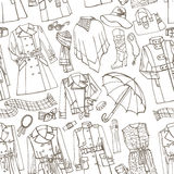 Outline Sketchy.Females outerwear,accessories Royalty Free Stock Image