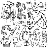 Outline Sketchy.Females outerwear,accessories set Stock Photo