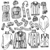Outline Sketchy vector.Females knitted clothing Stock Photo