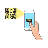 Outline smart phone scanning qr code Stock Image