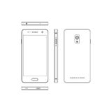 Outline smartphone on a white background. Phone in different vie Royalty Free Stock Image