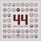 Outline smiles collection. 44 emoji. Stock Photos