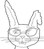 Outline of Sobbing Rabbit with Glasses Royalty Free Stock Photo
