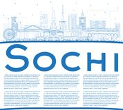 Outline Sochi Russia City Skyline with Blue Buildings and Copy S Stock Photos