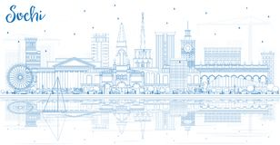 Outline Sochi Russia City Skyline with Blue Buildings and Reflec Stock Photography