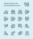 Outline Social media, web, communication icons for web and mobile design pack 2 Stock Photography