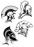 Outline spartan warriors or gladiators heads Royalty Free Stock Photo