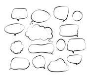 Outline speech bubbles. Doodle speech balloon sketch hand drawn scribble bubble talk cloud comic line retro shouting vector illustration