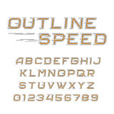 Outline speed alphabet font. Oblique letters and numbers in line style. Stock Photos