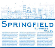 Outline Springfield Skyline with Blue Buildings and Copy Space. Stock Photo