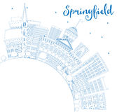 Outline Springfield Skyline with Blue Buildings and Copy Space. Stock Photos