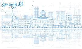 Outline Springfield Skyline with Blue Buildings and Reflections. Stock Photography