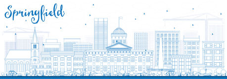 Outline Springfield Skyline with Blue Buildings. Royalty Free Stock Images