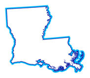 Outline of state of Louisiana. Drawing of outline of the state of Louisiana stock illustration