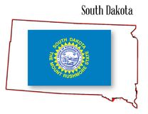 South Dakota State Map and Flag. Outline of the state of South Dakota isolated with flag inset Stock Images