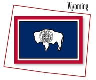 Wyoming State Map and Flag. Outline of the state of Wyoming isolated with flag inset Stock Images