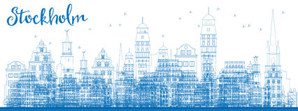 Outline Stockholm Skyline with Blue Buildings. Stock Photography