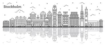 Outline Stockholm Sweden City Skyline with Historic Buildings an Stock Image