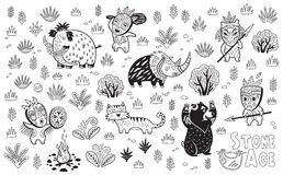 Outline Stone Age vector set Royalty Free Stock Image