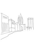 Outline street drawing Royalty Free Stock Image