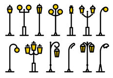 Outline streetlight icons collection. Isolated parks design element vector illustration. Stock Photo