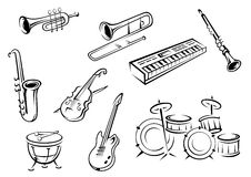 Outline strings, wind, keyboard and percussion Royalty Free Stock Photos