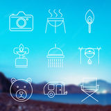 Outline stroke Camping icons Royalty Free Stock Images