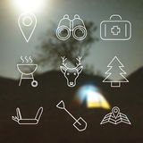 Outline stroke Camping icons Stock Image