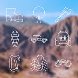 Outline stroke Camping icons Royalty Free Stock Photography