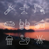 Outline stroke Camping icons Stock Images