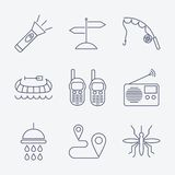 Outline stroke Camping icons Stock Photo