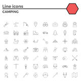 Outline stroke Camping icons. vector illustration