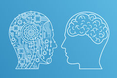 Outline stroke Machinery head of cyborg and the human one with the brain. Line style vector illustration. Stock Photos