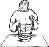 Outline of Strong Man Cooking. Outline cartoon of man seasoning a meal in a bowl royalty free illustration
