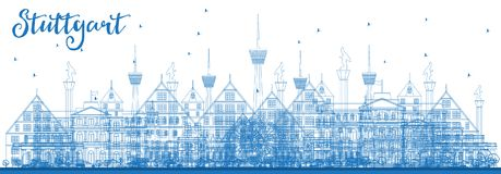 Outline Stuttgart Germany City Skyline with Blue Buildings. Vector Illustration. Business Travel and Tourism Concept with Historic Architecture. Stuttgart Royalty Free Stock Photography